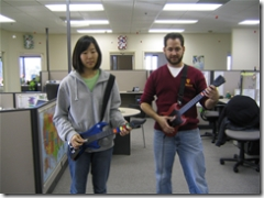 playing guitar hero 2 in the office