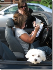 white dog in car with woman signing paperwork