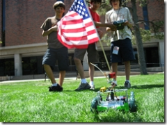 Colorado College Patriotic 4th of July robot with US Flag