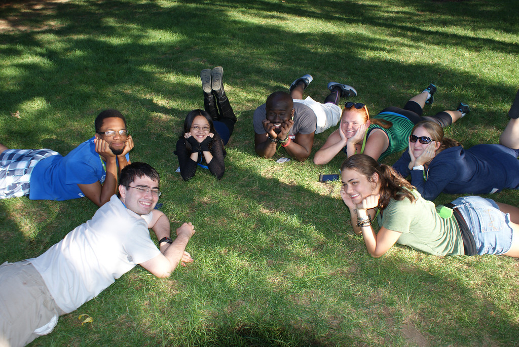 students outside relaxing at summer tech camp