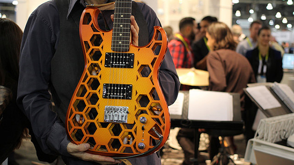 A custom, 3D-printed guitar.