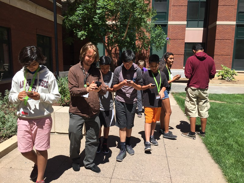 iD Tech students play Pokemon go at camp